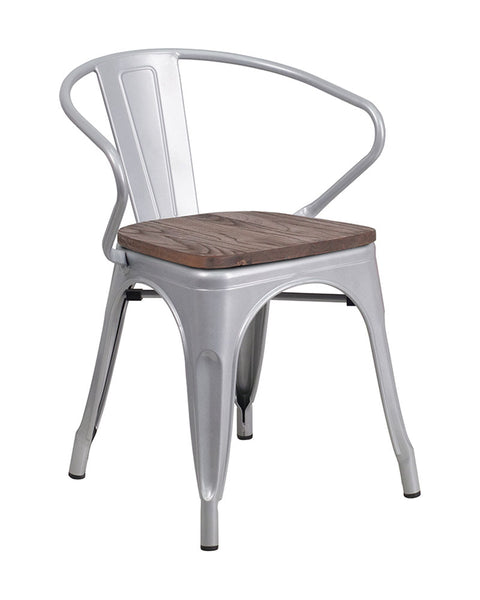 Offex OFX-473753-FF Bistro Metal Chair with Wood Seat and Arms - Silver
