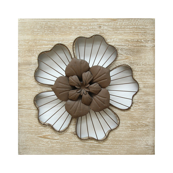 Stratton Home Decor Wall Hanging Rustic Flower Natural Wood/Espresso