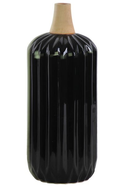 Urban Trends Wood Neck Ribbed Design Body Large Gloss Finish Ceramic Cylindrical Moluccan Vase - Black