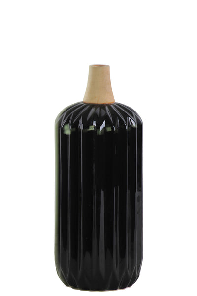 Urban Trends Wood Neck Ribbed Design Body Small Gloss Finish Ceramic Cylindrical Moluccan Vase - Black