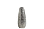 Urban Trends Ceramic Round Vase Dimpled Polished Chrome Finish Small Silver
