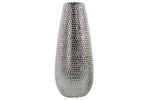 Urban Trends Ceramic Round Vase Dimpled Polished Chrome Finish Large Silver