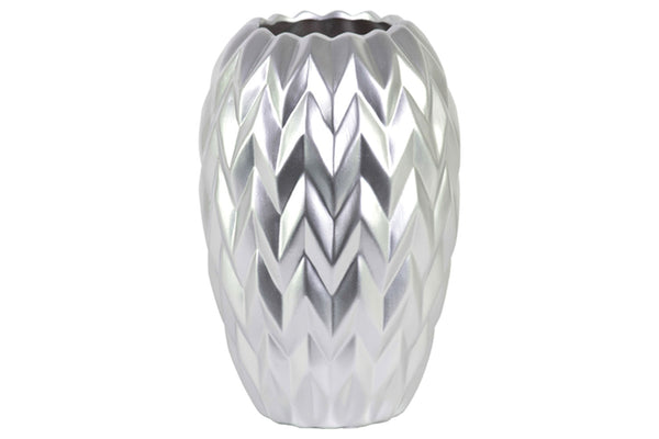 Urban Trends Ceramic Round Vase with Round Lip, Embossed Wave Design and Rounded Bottom Matte Finish Large Silver
