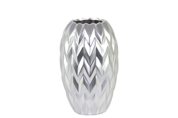 Urban Trends Ceramic Round Vase with Round Lip, Embossed Wave Design and Rounded Bottom Matte Finish Small Silver
