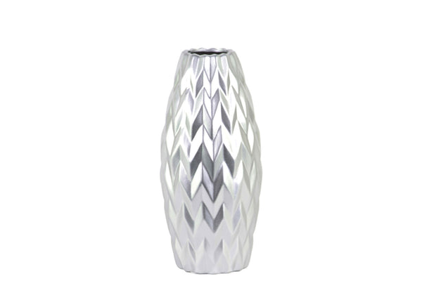 Urban Trends Ceramic Rounded Bellied Vase with Round Lip and Embossed Wave Design Matte Finish Small Silver