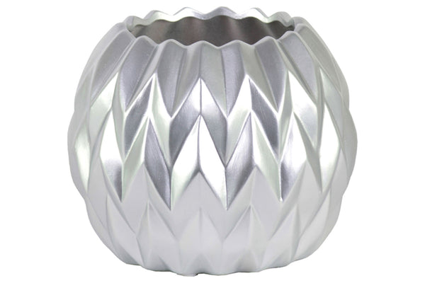 Urban Trends Ceramic Round Low Vase Large Matte Finish - Silver