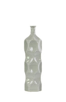 Ceramic Round Bottle Vase with Dimpled Sides Medium Gloss Finish Gray