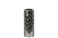 Ceramic Round Cylindrical Vase Silver with Patterned Design Medium Polished Chrome FInish Silver