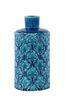 Ceramic Rounc Vase with Embossed Quatrefoil Pattern Small Gloss Finish Royal Blue