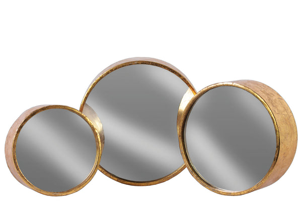 Urban Trends Collection Metal Round Wall Mirror Set of Three Tarnished Finish Antique Rose Gold