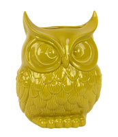 Ceramic Owl Figurine/Vase Large Gloss Finish Yellow