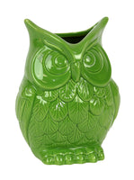Ceramic Owl Figurine/Vase Small Gloss Finish Lime Green