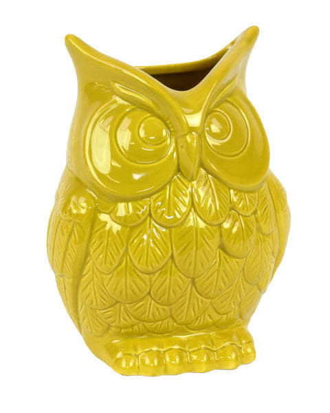 Ceramic Owl Figurine/Vase Small Gloss Finish Amber