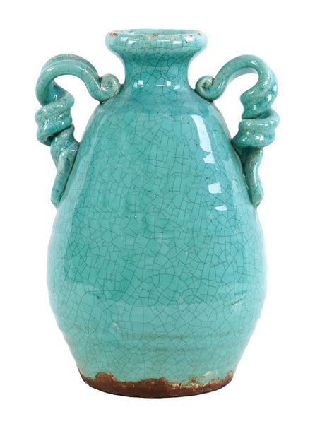 Ceramic Round Bellied Tuscan Vase with 2 Looped Handles Craquelure Distressed Gloss Finish Marine Blue