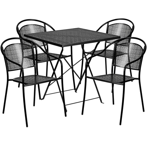 28'' Square Indoor-Outdoor Steel Folding Patio Table Set with 4 Round Back Chairs