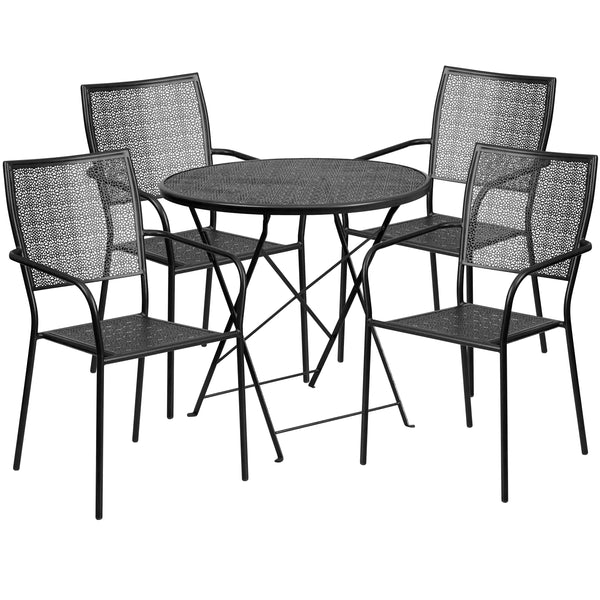 30'' Round Indoor-Outdoor Steel Folding Patio Table Set with 4 Square Back Chairs