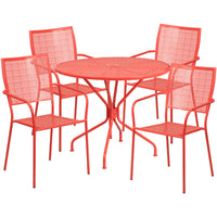 35.25'' Round Indoor-Outdoor Steel Patio Table Set with 4 Square Back Chairs