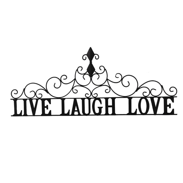 Benzara Live laugh Love Metal Wall Decor, Black