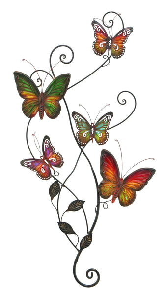 Benzara Colorful Butterflies Metal Wall Decor, Multicolor
