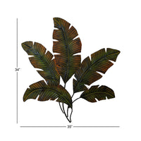 Benzara Metal Leave Wall Decor/Palm Leave, Green and Brown
