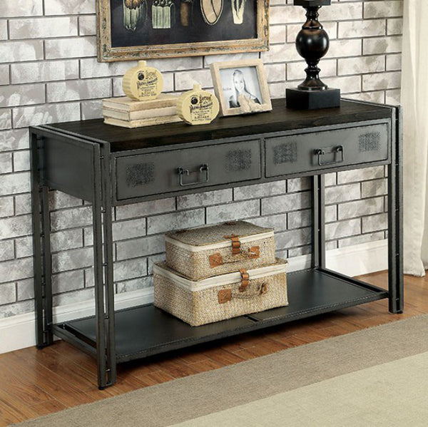 Thurles Industrial Style Sofa Table, Black
