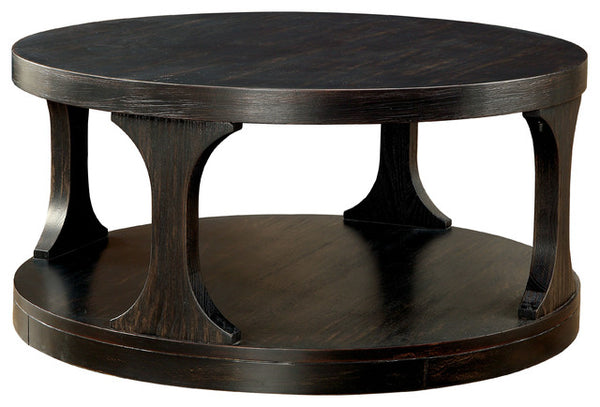 Carrie Transitional Coffee Table, Antique Black