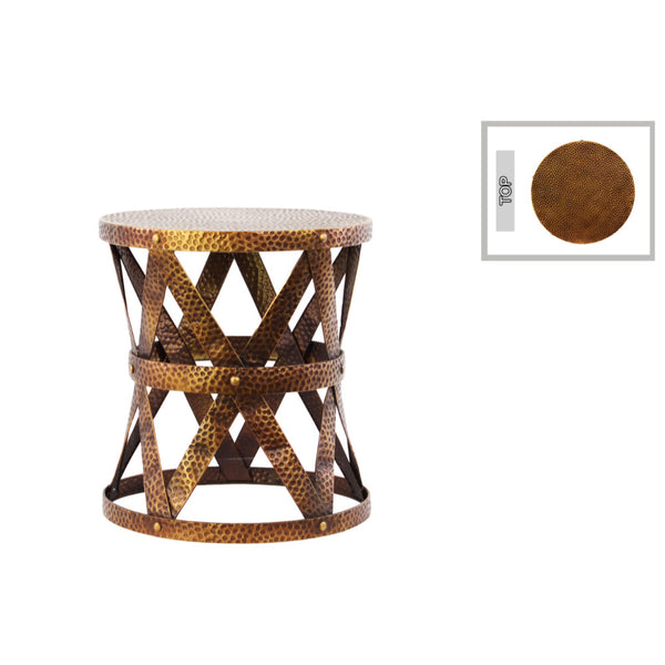 Trendy Small Round Accent Table - Lattice Girder Design and Dimpled Coat - Benzara