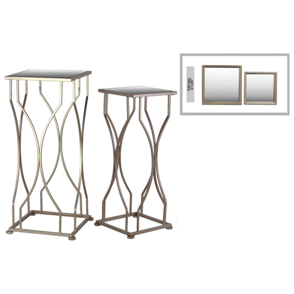Accent Table with Mirror Top and Square Base Set of 2 -Gold-Benzara