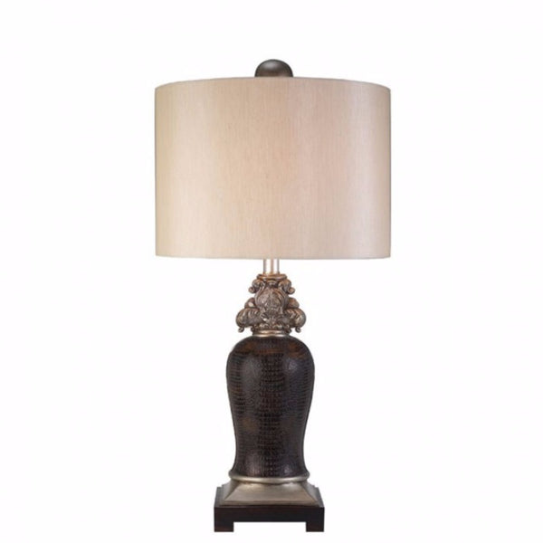 Tracey Transitional Style Table Lamp,Sterling Silver, Brown