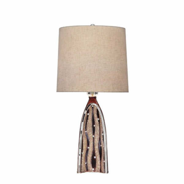 Velma Contemporary Style Table Lamp,Brown & Beige
