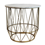 Well-Designed Stylish Metal & Marble Accent Table, White