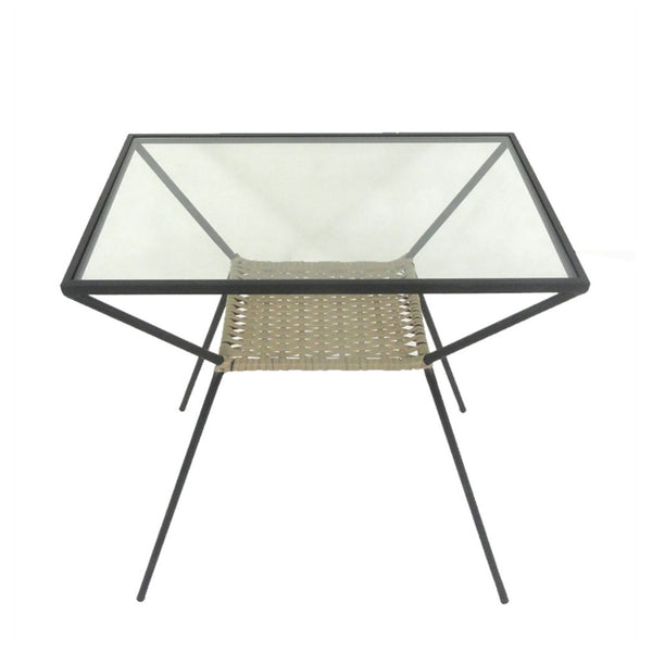Stylish  Woven Rattan & Metal Accent Table, Black