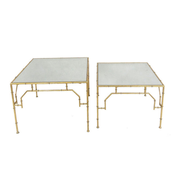 Elegant 2 Piece  Metal & Mirror Accent Tables, Gold