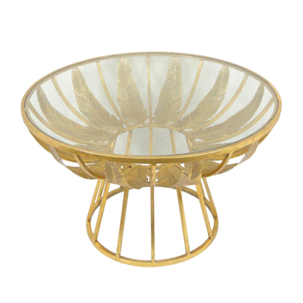 Alluring Palm Leaf Metal & Glass Accent Table, Gold