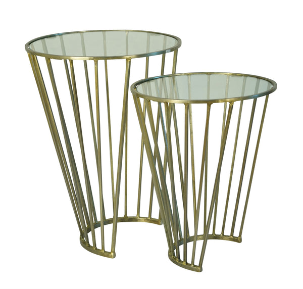 Stylish Metal Accent Tables, Set Of Two, Gold