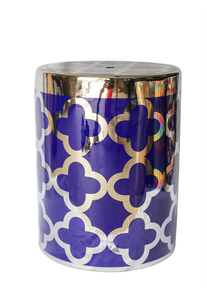 Trendy Ceramic Garden Stool, Blue And Gold