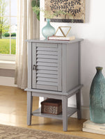 Elegant Side Table With 1 Drawer and Door, Gray