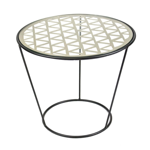 Well- Designed Metal And Glass Round  Accent Table, Black And White