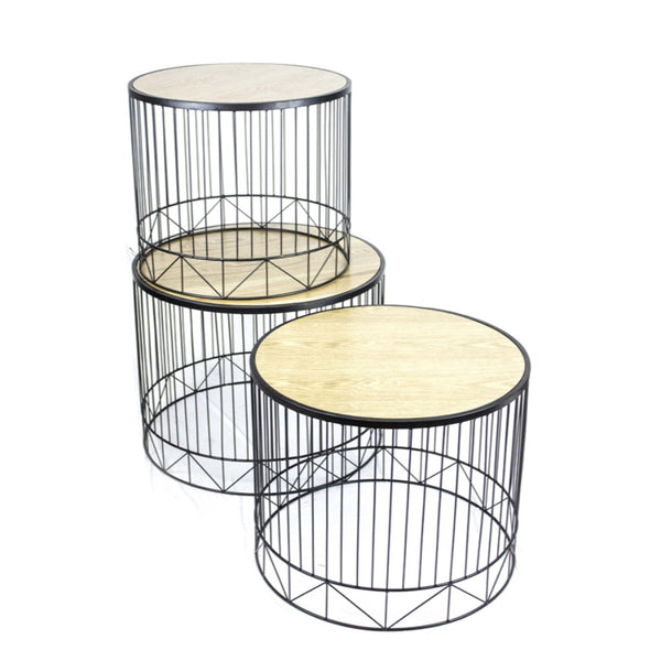Set Of Three Metal Accent Tables With Wooden Top, Black And Brown