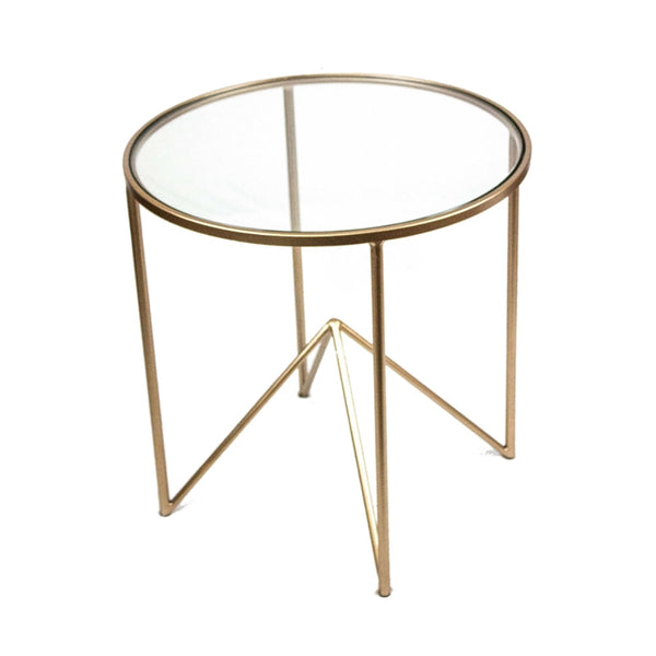 Beautifully Designed Round Metal And Glass Accent Table, Gold