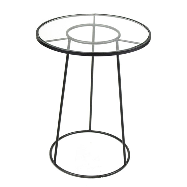 Symmetrically Tapered Round Metal And Glass Accent Table, Black
