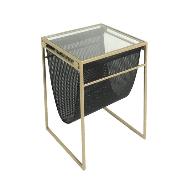 Dazzling Metal Accent Table With A Basket And Glass Top, Gold