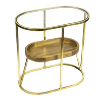 Attractive Metal Accent Table With Wooden Shelf, Gold