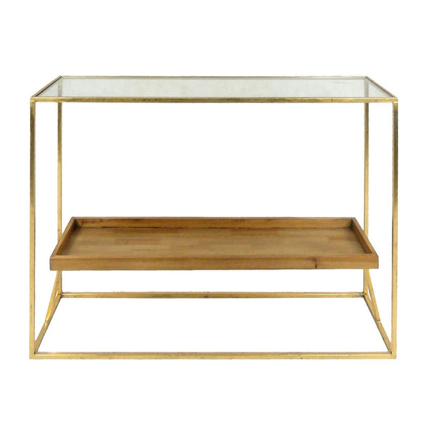 Cubical Metal Accent Table With Wooden Shelf, Gold