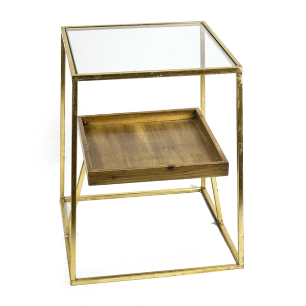 Square Shaped Metal Accent Table With Wooden Shelf, Gold