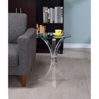 Contemporary Acrylic Accent Table With Glass Top, Clear