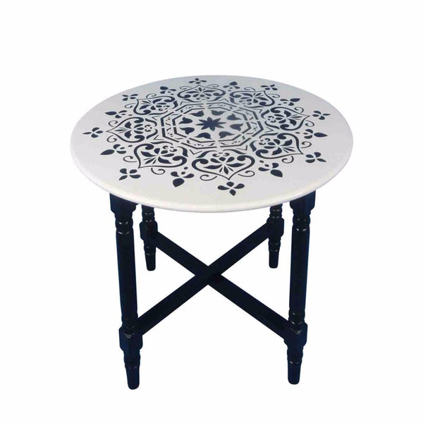 decorative Cross Base Round Accent Table, Black And White