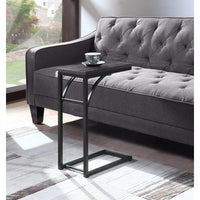 Elegantly Charmed Metal Snack Table, Gray And Black