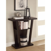 Angled Wooden Console Table With Storage Space, Brown