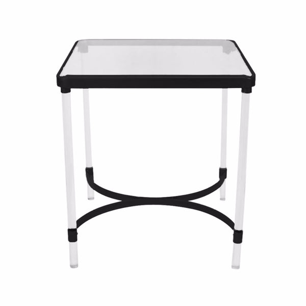 Square Accent Table, Clear And Black